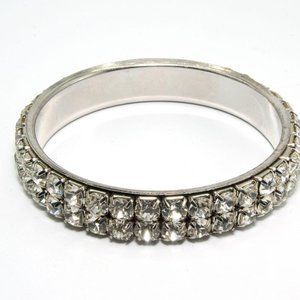 Jewelry - Double Row Crystal Bling Bangle Bracelet, Silver